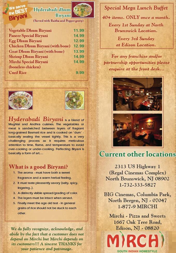 Mirchi Restaurant Edison Nj Menu
